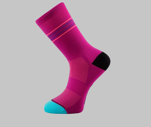 Pin Stripe - Cycling Socks - Burgundy