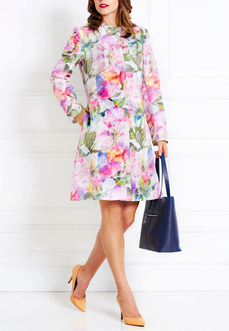 FLORAL SILK CHIFFON DRESS