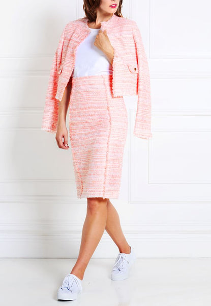 LIGHT ROSE BOUCLÉ TWEED JACKET - IvanaRosova