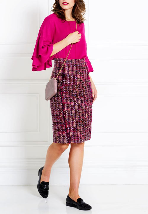 MAGENTA BOUCLÉ TWEED PENCIL SKIRT - IvanaRosova