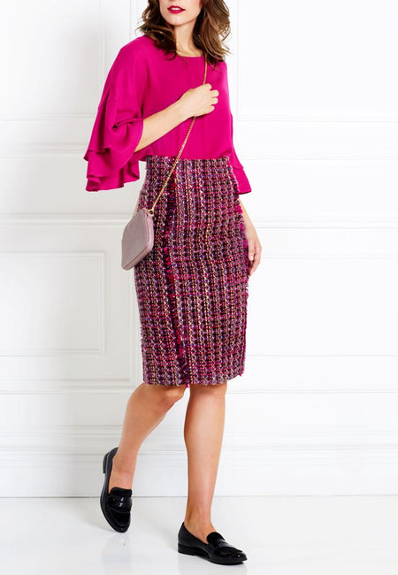 MAGENTA BOUCLÉ PENCIL SKIRT