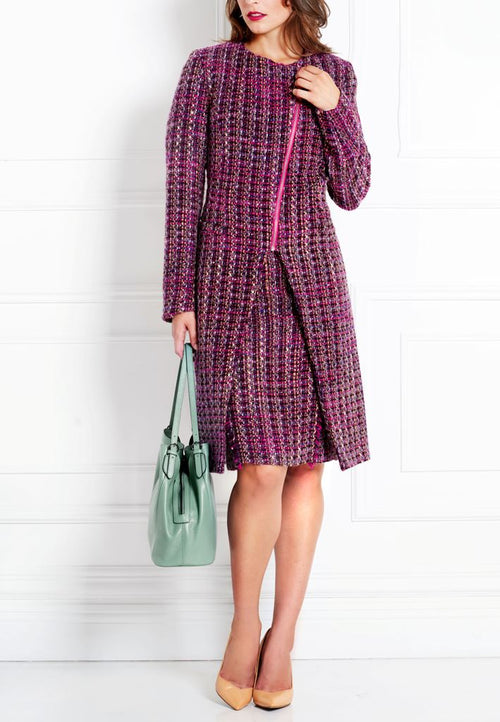 MAGENTA BOUCLÉ TWEED COAT - IvanaRosova