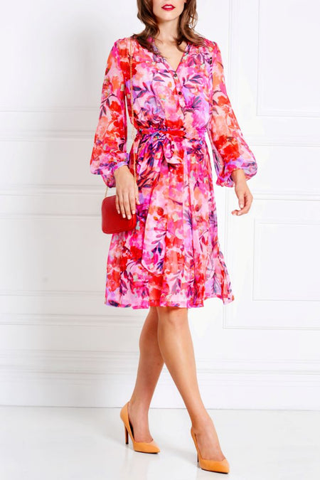 FUCHSIA A-LINE VISCOSE DRESS
