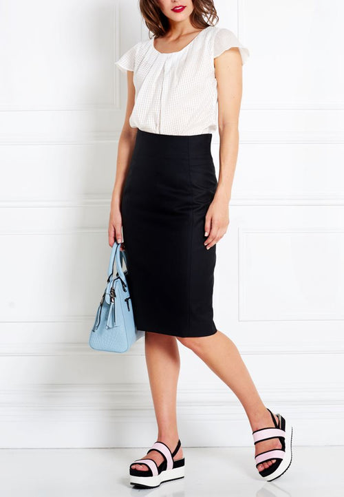 BLACK MERINO WOOL PENCIL SKIRT - IvanaRosova