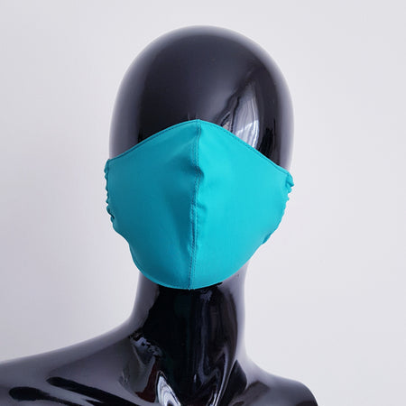 TEXTILE FACE MASK - LIGHT BLUE WITH FLOWERS