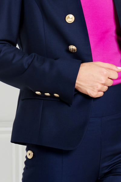 NAVY BLUE TAILORED MERINO WOOL JACKET - IvanaRosova