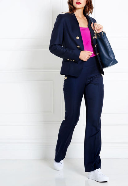 NAVY BLUE MERINO WOOL TROUSERS - IvanaRosova