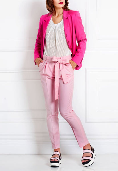 LIGHT ROSE SLIM MERINO WOOL TROUSERS - IvanaRosova