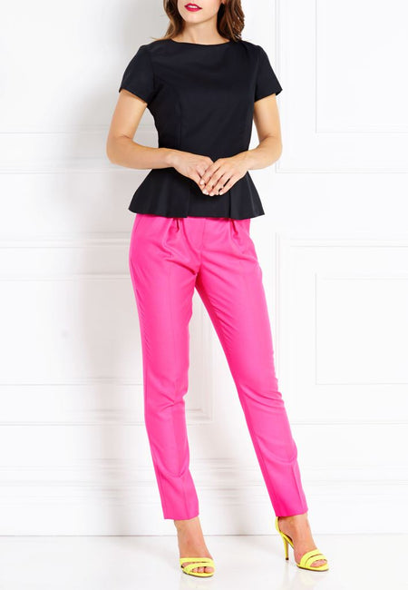 MAGENTA SLIM MERINO WOOL TROUSERS