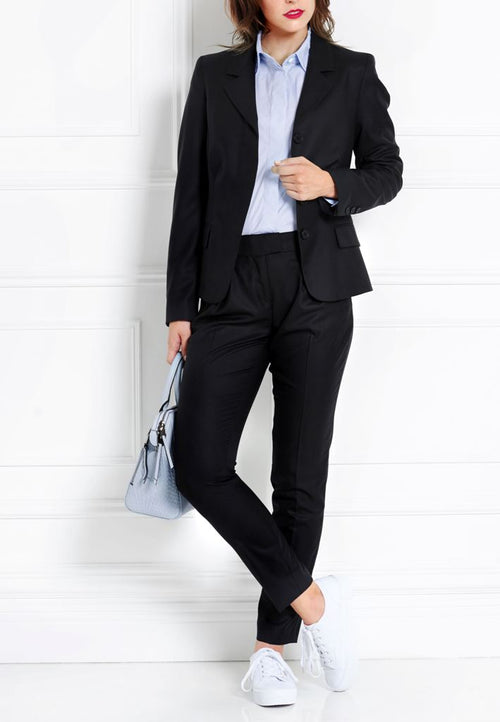 BLACK SLIM MERINO WOOL TROUSERS - IvanaRosova