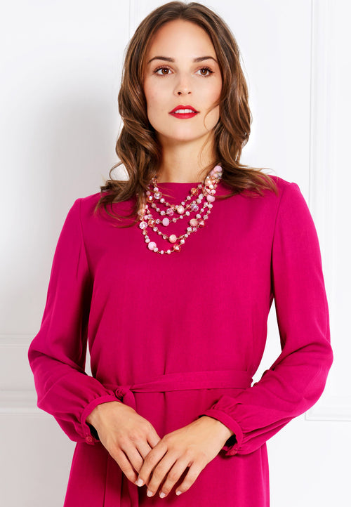 FUCHSIA A-LINE VISCOSE DRESS - Ivana Rosova