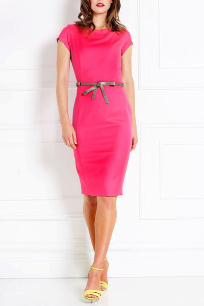 MAGENTA TAILORED MERINO WOOL DRESS - IvanaRosova