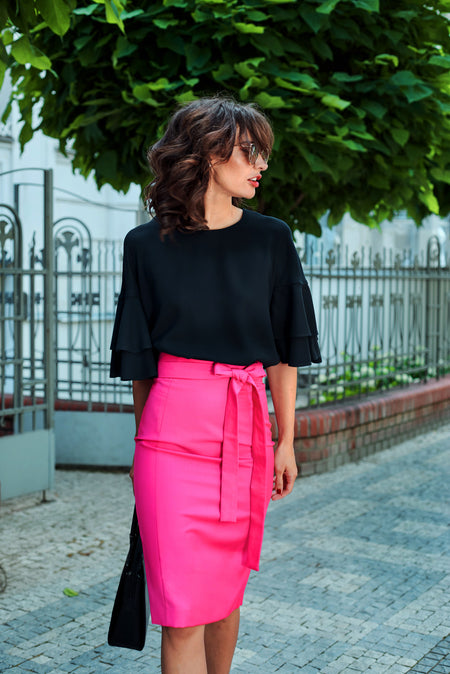 FLORAL PUFFY TAFFETA SKIRT