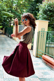 Ivana Rosova - wine red puffy skirt