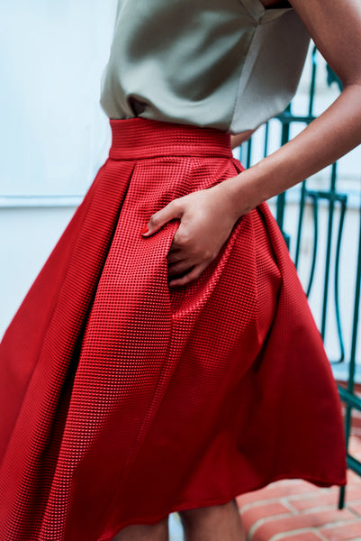 Ivana Rosova - red puffy skirt