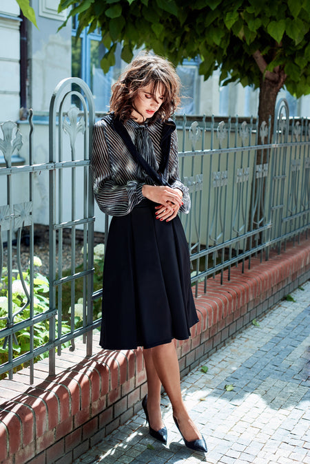 BLACK MERINO WOOL PENCIL SKIRT