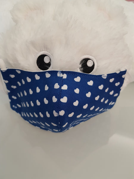 Ivana Rosova - textile face mask - children - blue with hearts