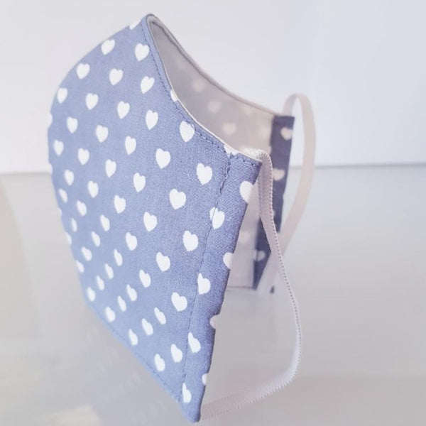 Ivana Rosova - textile face mask - children - grey with hearts