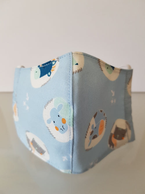 Ivana Rosova - textile face mask - children - light blue with animals