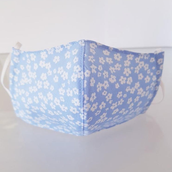 Ivana Rosova - textile face mask - children - light blue with flowers