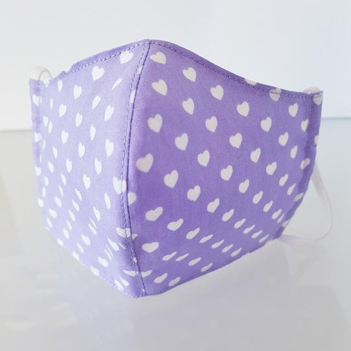 Ivana Rosova - textile face mask - children - purple with hearts