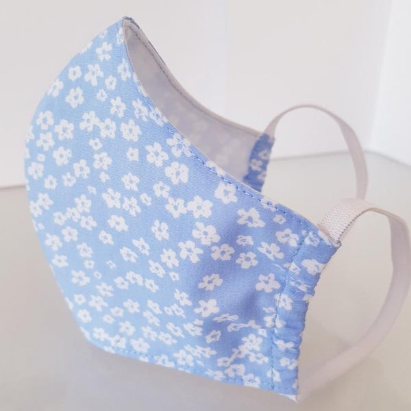 Ivana Rosova - textile face mask - light blue with flowers