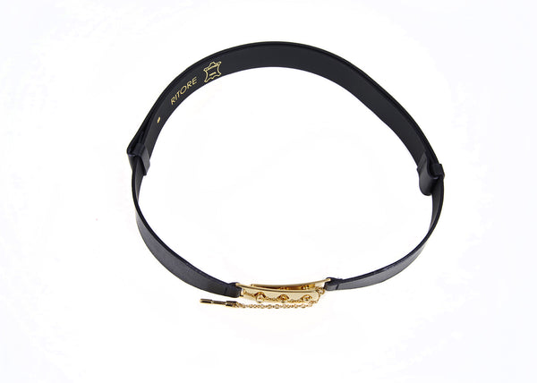 KELLY BLACK GOLD LEATHER BELT - IvanaRosova