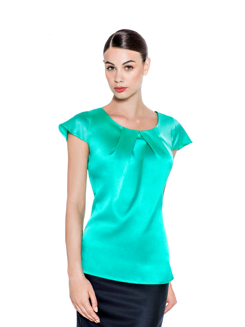 MINT GREEN STRETCH SILK BLOUSE