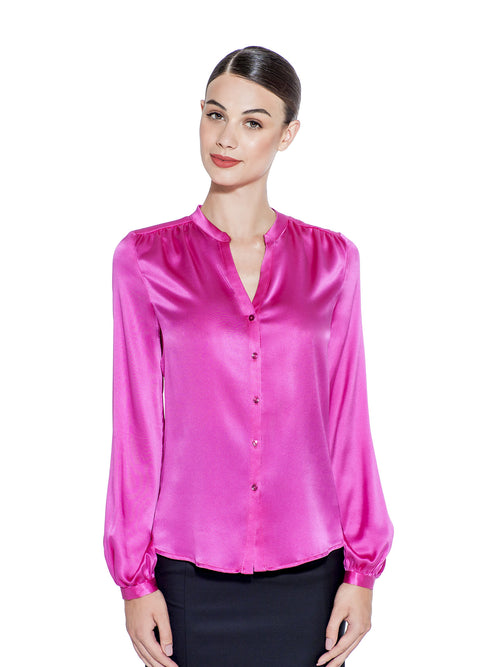 MAGENTA STRETCH SILK BLOUSE - IvanaRosova