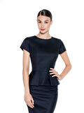 BLACK MERINO WOOL PEPLUM TOP