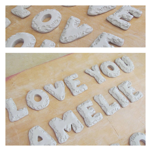 Ceramic letters in progress