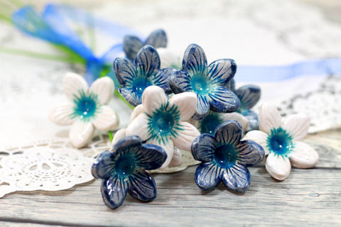 blue and white decorations