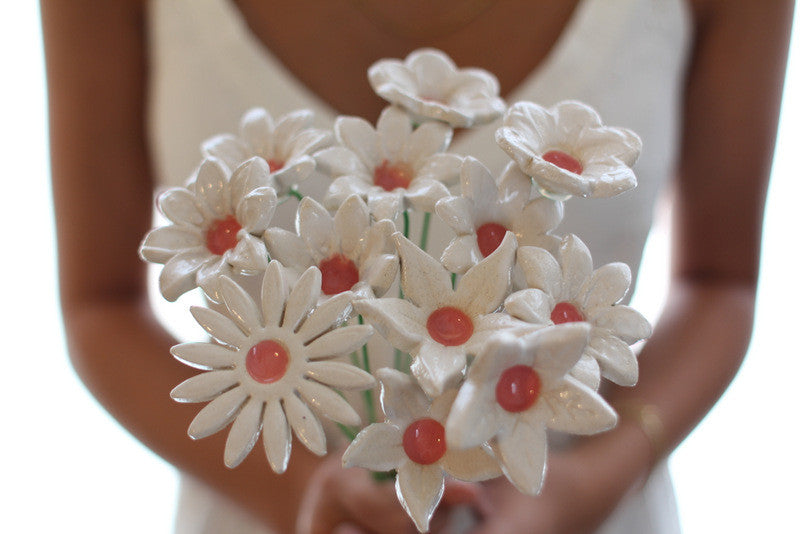 White Bridal bouquet, Wedding bouquet Shabby chic wedding Wedding flowers - Ceramics By Orly  - 1
