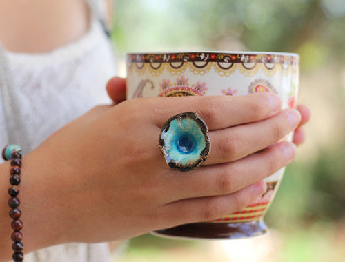 One of a kind turquoise and brown ceramic ring