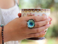 One of a kind turquoise and brown ceramic ring - Ceramics By Orly  - 1