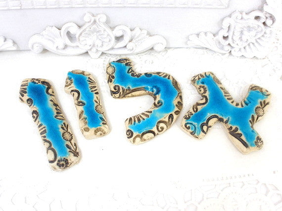 Ceramic Hebrew letters