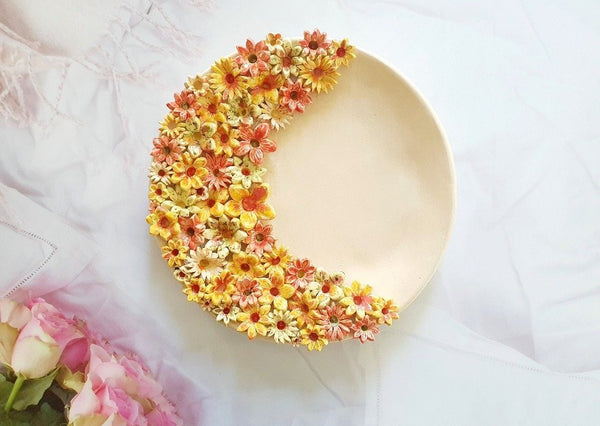 Decorative plate Ceramic floral plate Housewarming gift Botanical plate