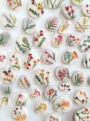 Ceramic cabochons Pressed flower cabochons Botanical decor