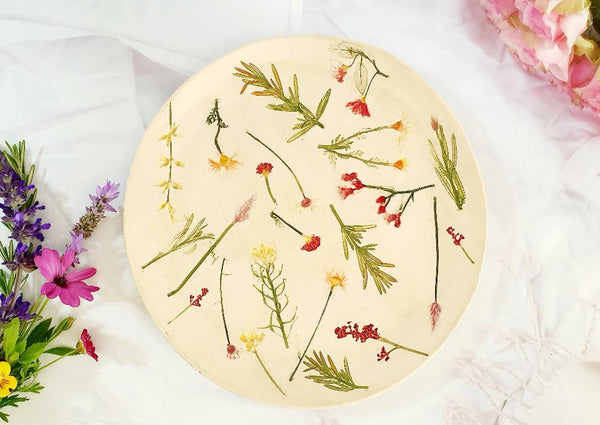 Ceramic floral botanical plate Inspired by nature OOAK gift
