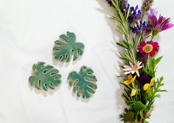 Ceramic Monstera leaves Colorful ceramic leaves Home decor Rustic decor Farm house