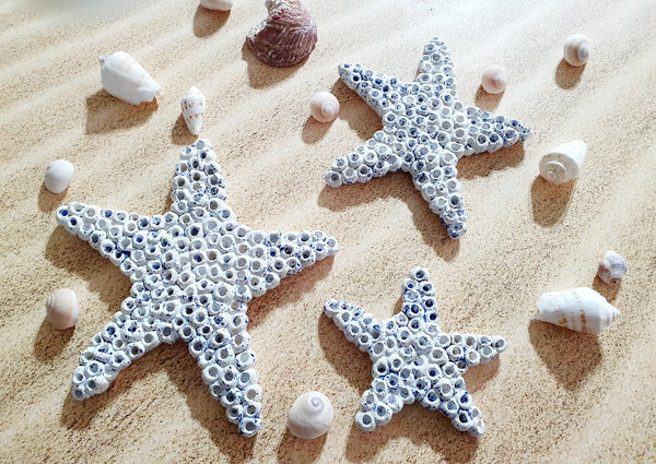 Ceramic white stars, Starfish decor