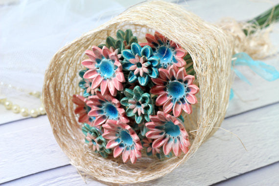Alternative bouquet Wedding decor Wedding centerpiece Flowers decorations Spring decor Ceramic flowers