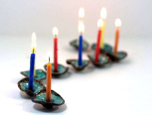 Ceramic Hanukkah Menorah in brown and turquoise - Ceramics By Orly  - 1