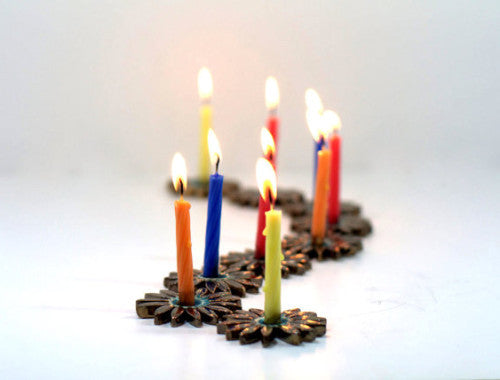 Ceramic Hanukkah Menorah in brown and turquoise