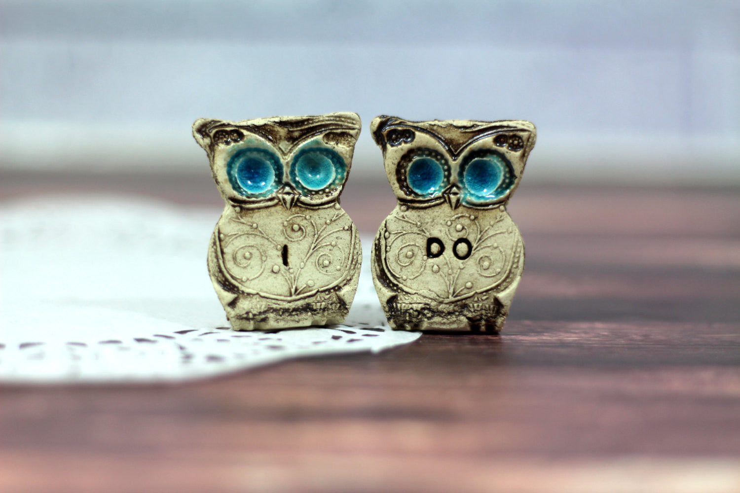 I DO owls cake topper for weddings - Ceramics By Orly  - 1