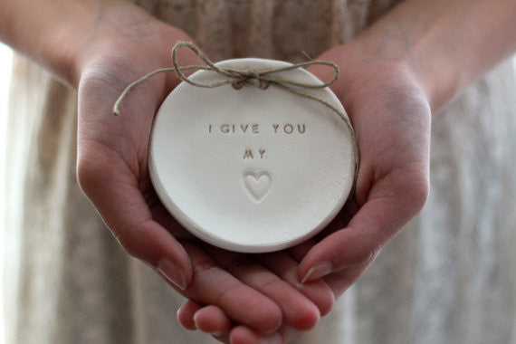I give you my heart Wedding ring dish - Ceramics By Orly  - 1
