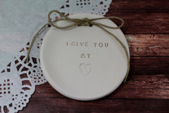 I give you my heart Wedding ring dish - Ceramics By Orly  - 3