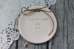 I give you my heart Wedding ring dish - Ceramics By Orly  - 4