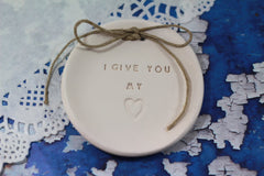 I give you my heart Wedding ring dish - Ceramics By Orly  - 5