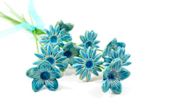 Aqua turquoise flowers bouquet - Ceramics By Orly  - 3